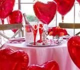 Red heart shaped foil balloons