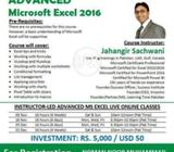 Online Instructor Led Course Advance Microsoft Excel 2016