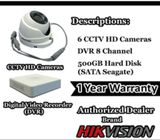 6 CCTV HD Camera Night Vision For Home, Warehouses & Offices Security
