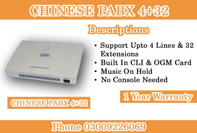Built-in 4 Lines & 32 Extensions Chinese PABX System Available