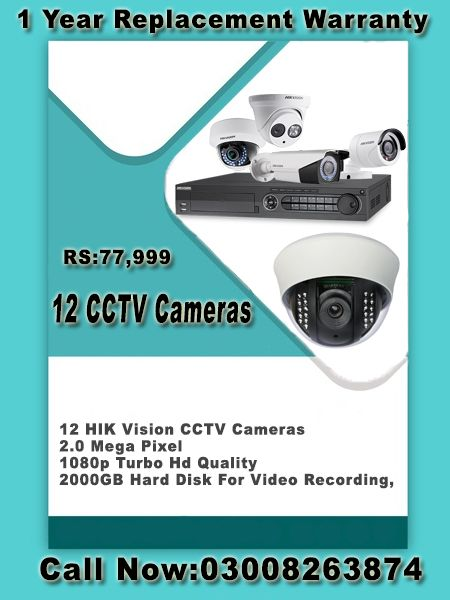 12 CCTV Cameras for Offices, House and Warehouses Security In Afortable Price.