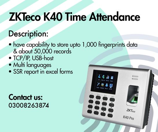 Time Attendance Machine (ZKTeco K-40)
