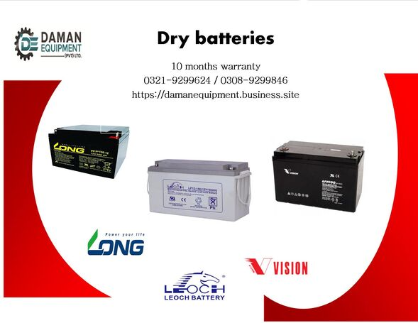Long Dry Battery 200ah/12v with 10 months warranty delivery all over Pakistan
